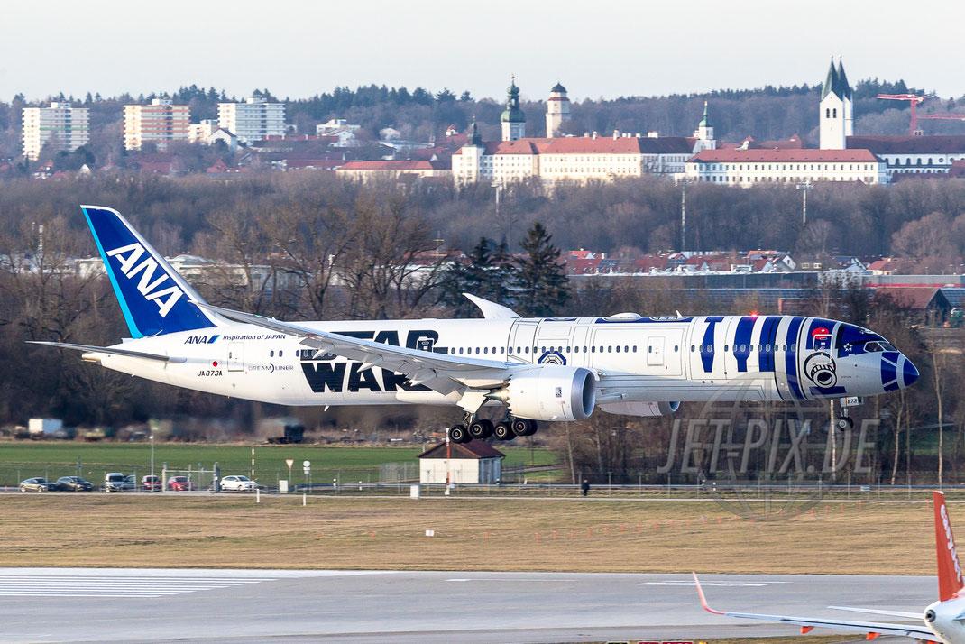 """JA873A ANA Star Wars """"R2D2"""" Boeing 777 2016 02 12 EDDM München"""