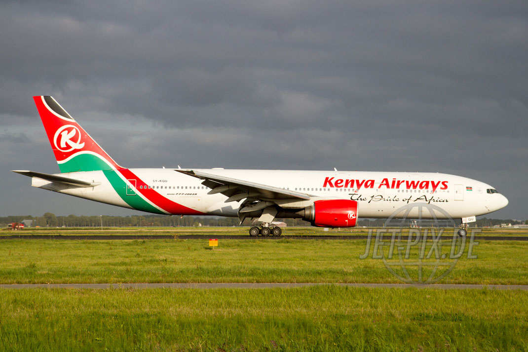 5Y-KQU Kenya Airways Boeing 777-200 2012 09 15 EHAM Amsterdam Polderbaan