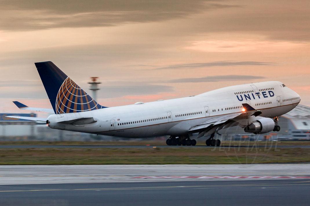 N107UA United Airlines Boeing 747 2017 10 28 EDDF Frankfurt Tour 747UA End Der letzte Abflug Good Bye