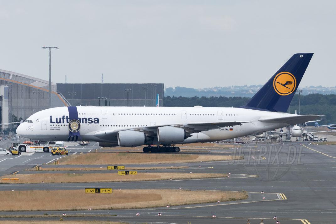 "D-AIMA Lufthansa ""SkyTrax-Auszeichnung"" Airbus A-380 2017 06 24 EDDF Frankfurt ""Tag der Luftfahrt"""