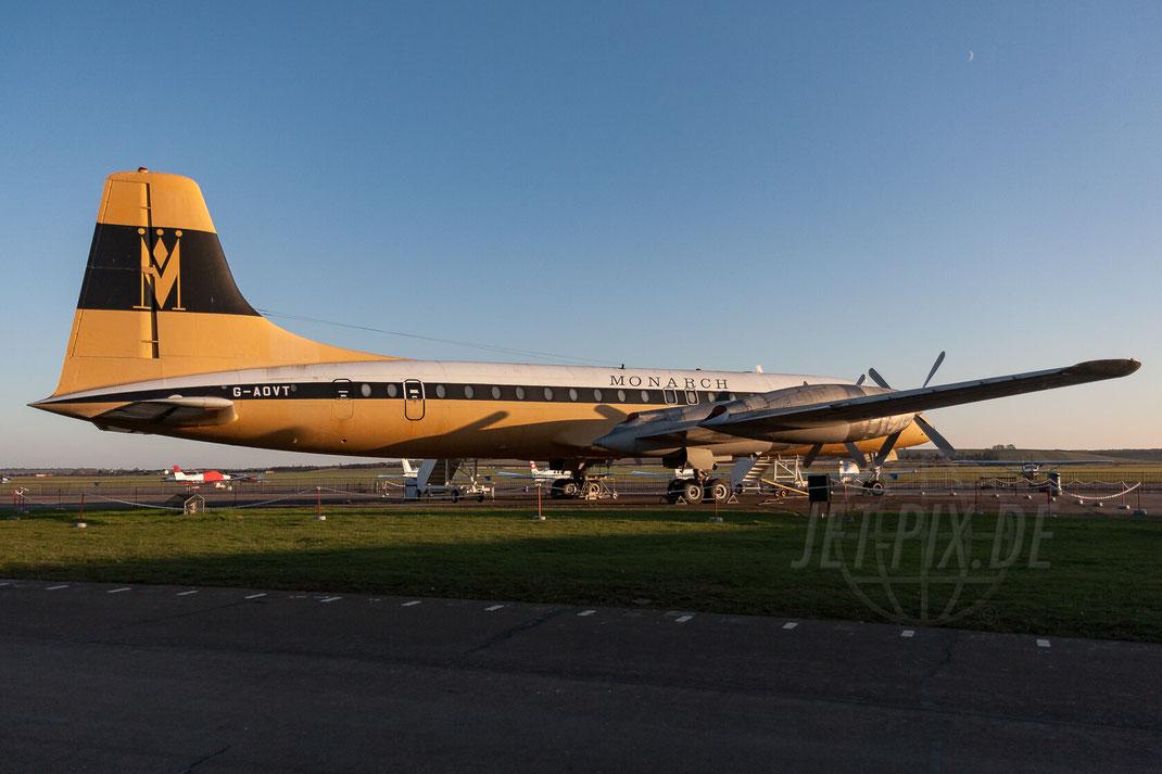 G-AOVT Monarch Airline Bristol 175 Britannia 2007 12 15 EGSU Duxford Museum Stunning livery Flying Legend 2017 2016 2015 2014
