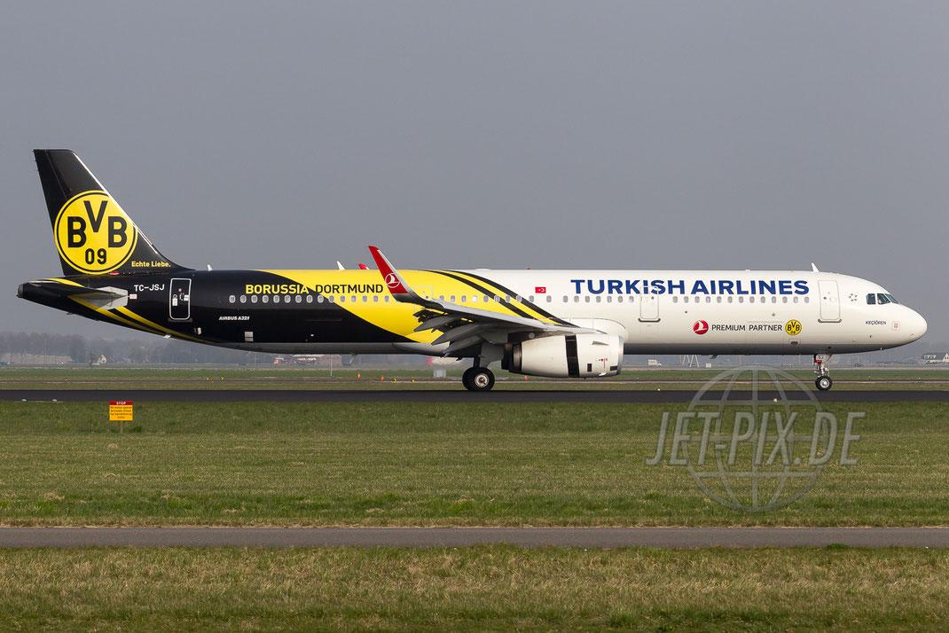 "TC-JSJ Turkish Airlines Airbus A321 ""BVB-Echte Liebe"" 2015 04 10 EHAM Amsterdam"