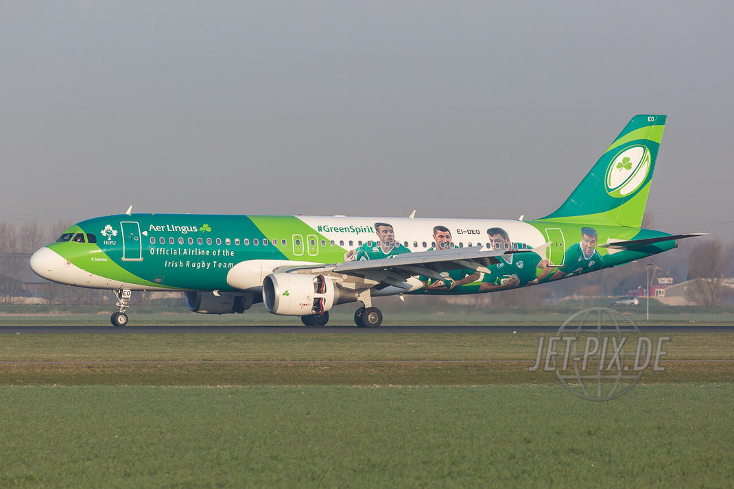 EI-DEO Aer Lingus Airbus A320-214 Amsterdam (EHAM) Landing Polderbaan