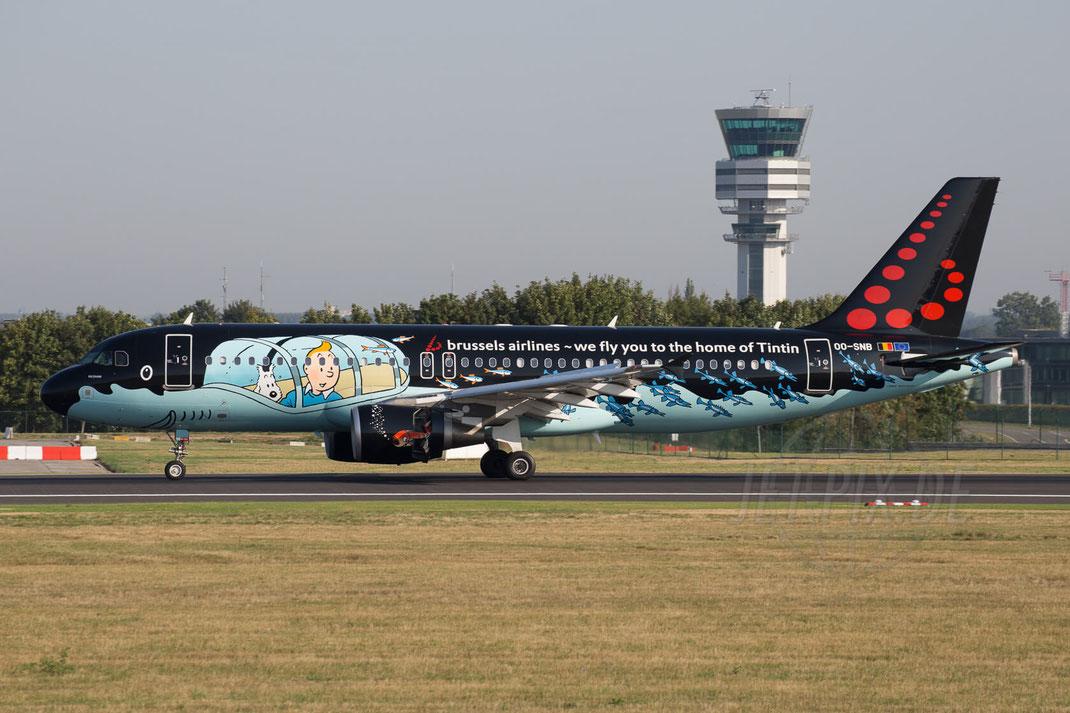 OO-SNB Brussels Airlines Airbus A320 2015 08 22 EBBR Brüssel Landung Zaventem Spotterplatz beste Aussicht