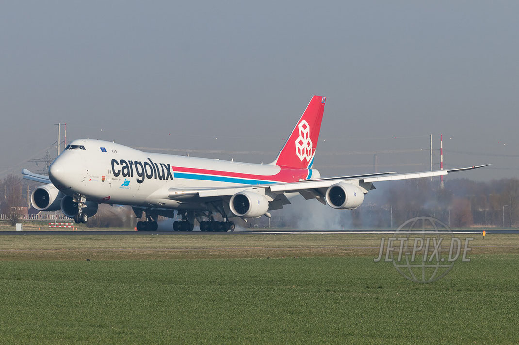 LX-VCI Cargolux Airlines International Boeing 747-8R7F Amsterdam (EHAM) Landing Polderbaan JET-PIX.DE Schiphol Jetspotter Planespotting Planespotter bestes Wetter Fritten Krokett Lebensgefühl Niederländer Spaß