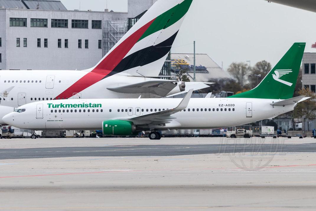EZ-A020 Turkmenistan Airlines Boeing 737-82K(WL) 2017 10 28 EDDF Frankfurt Tour 747UA End