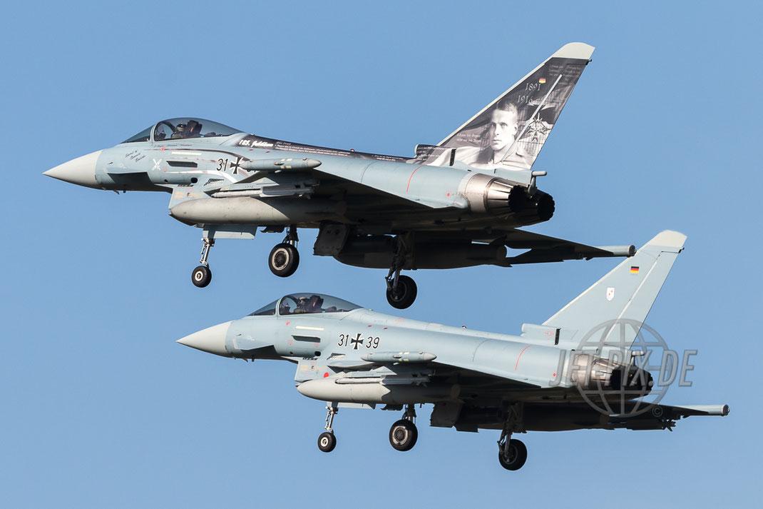 """31+31 Deutsche Luftwaffe Eurofighter EF-2000 Typhoon """"Boelcke"""" mit 31+39 im Hintergrund in Nörvenich ETNN bestes Wetter super Flieger Spotter Spotting"""