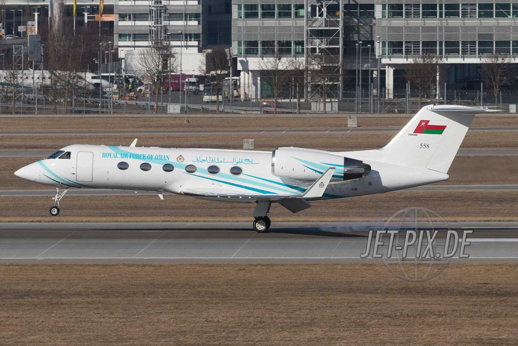 558 Royal Air Force of Oman (RAFO) Gulfstream Aerospace G-IV bei der Landung am Flughafen München