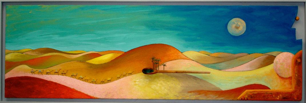 afrique, paysage, dune, sable, désert, chameau, femme, peinture, art, Lesenfans, ciel, lune