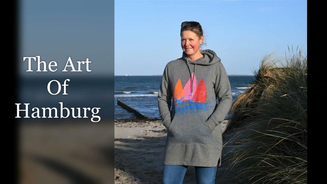 Handbedruckte und handbemalte individuelle Hoodies und Jacken von Frank Bührmann THE ART OF HAMBURG speziell für JANULI in Heiligenhafen angefertigt.
