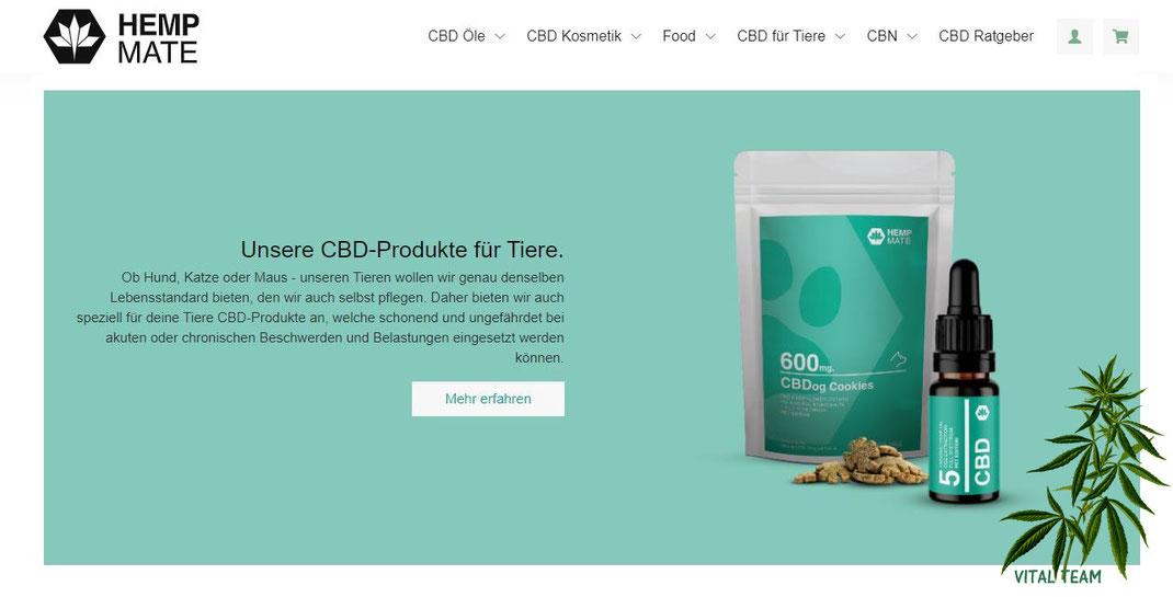 CBD Produkte HempMate VITALTEAM für Mensch und Tier