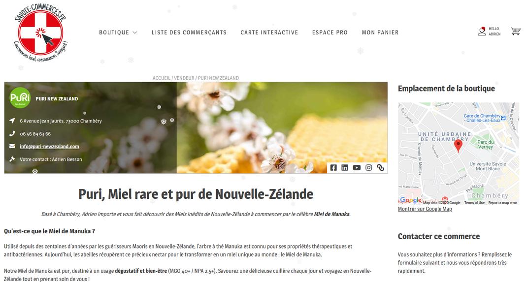 Puri New Zealand chez Savoie Commerces.fr