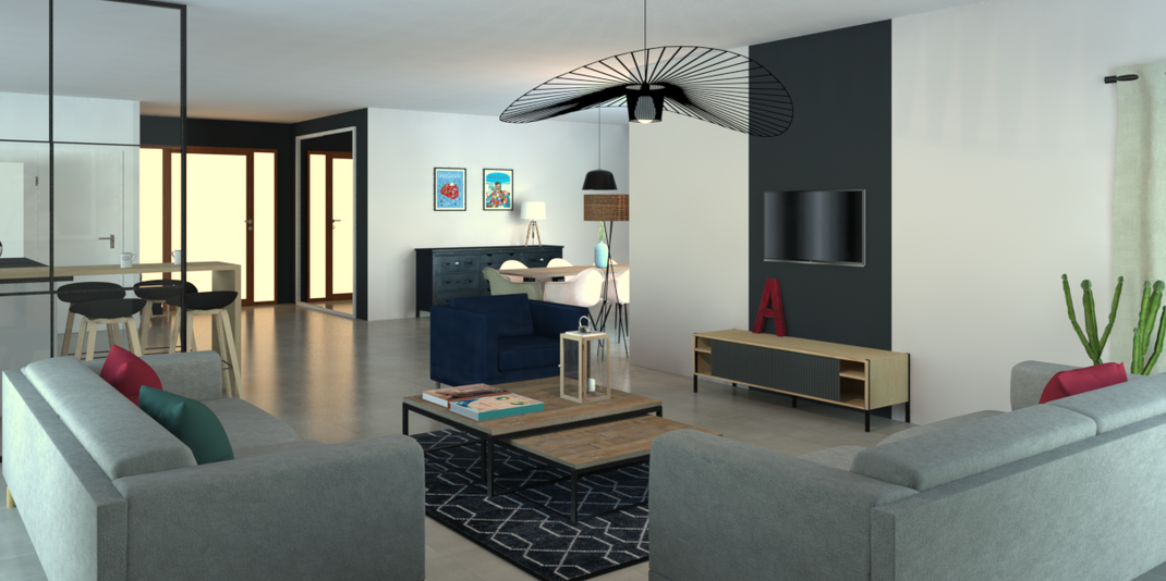 Espace de vie, partie salon, suspension vertigo, meuble tv hartô, verrière, couleur noire, canapés habitat