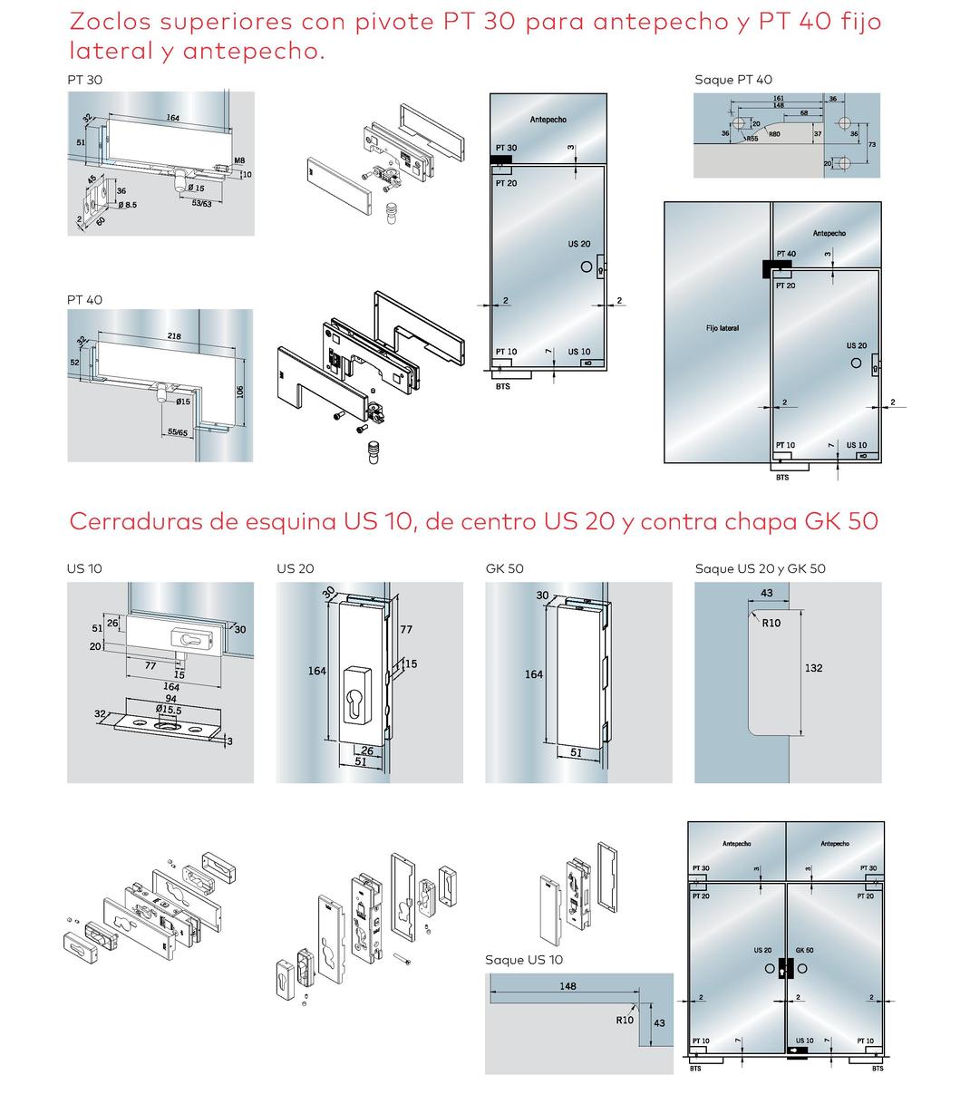 Herrajes UL-PT para puertas de cristal templado