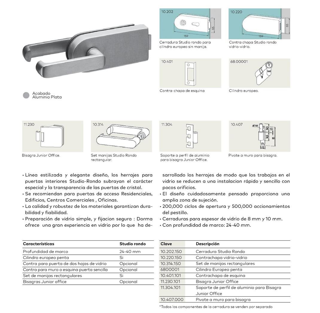 Cerradura Studio Rondo para puertas de cristal templado