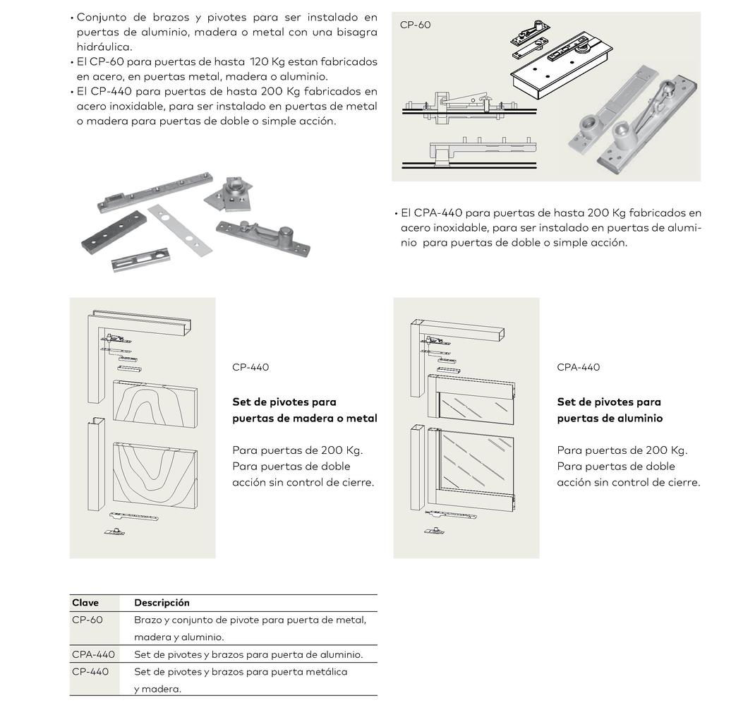 Set de brazos y pivotes para puerta de madera, metal o aluminio CP-60, CP-440 y CPA-440