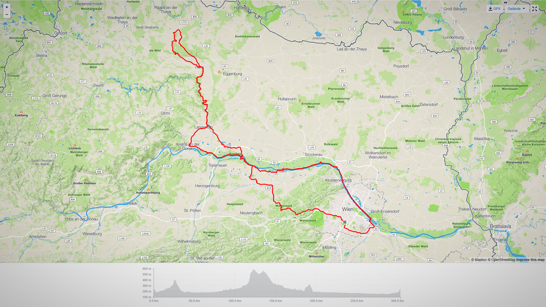 Streckenprofil Wien - Langenlois - Horn - Horner Wald - Krems - Korneuburg - Wien