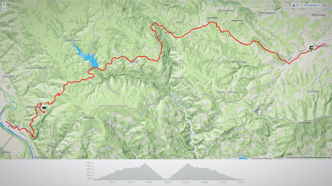 Streckenprofil Eibiswald - Lavamünd - Eibiswald über die Soboth
