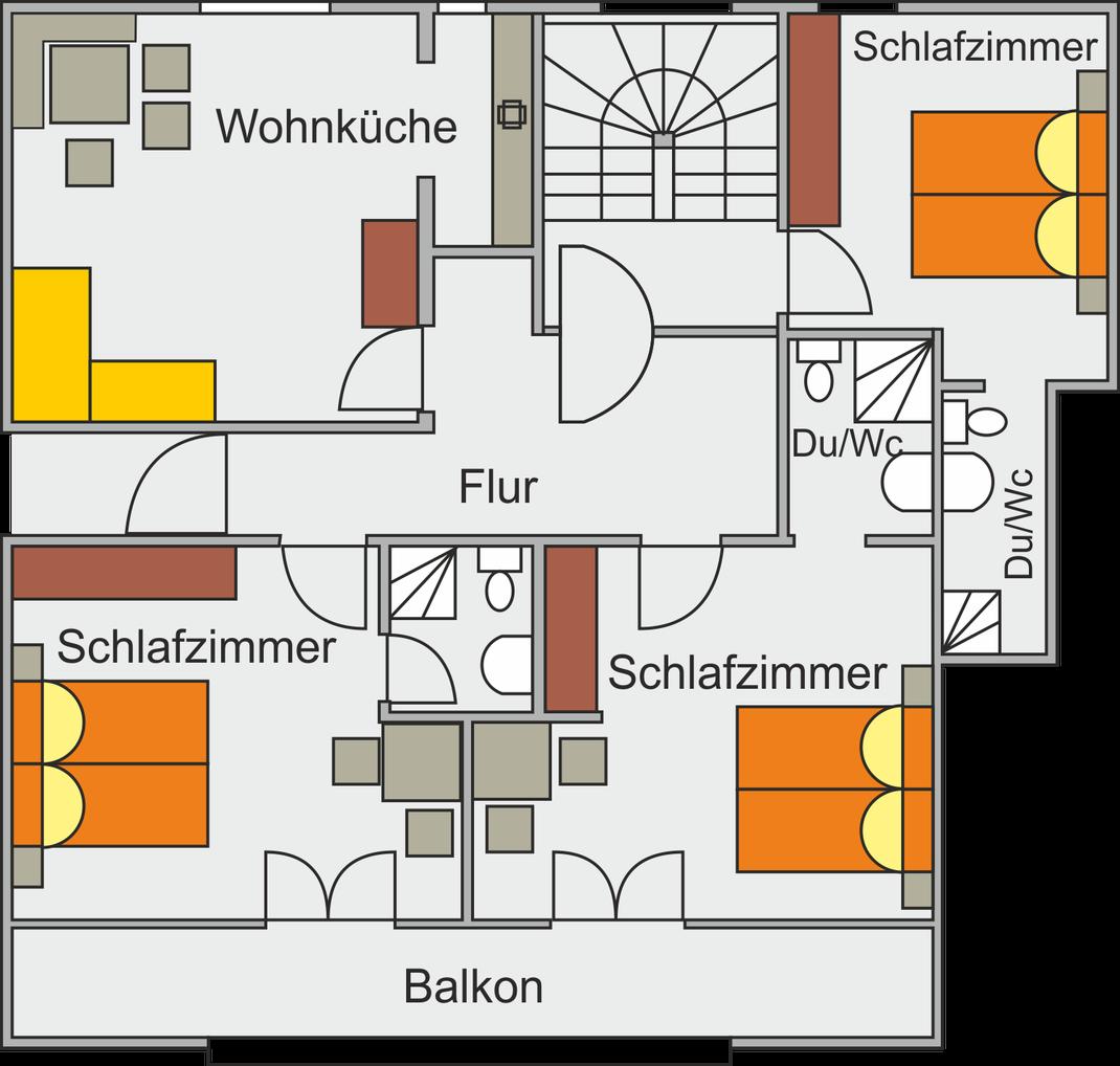 Grundriss vom Appartment Gweil im Haus Monika in St. Gallenkirch im Montafon