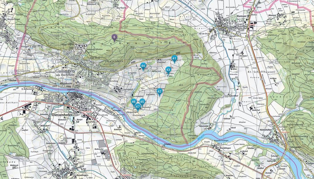 Projektübersicht Region Gailingen: 06 Rauhenberg  | Quelle: www.map.geo.admin.ch