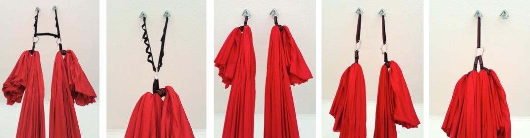 Beispiele für die Aufhängung des Aerial Yoga Tuches