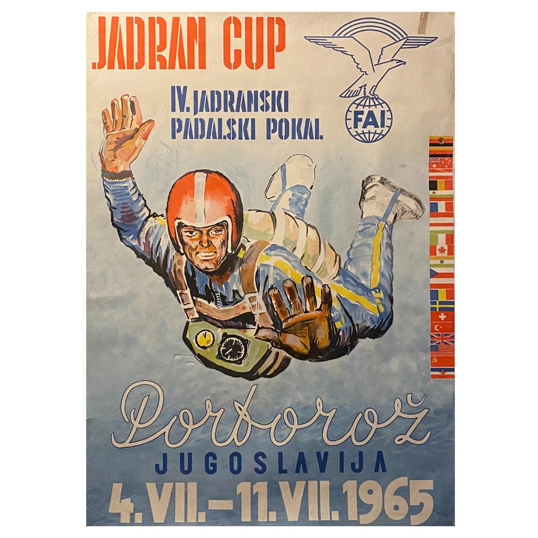 Original Jadran Cup 1965 Portoroz, Jugoslavija, Fallschirmsprung Wettbewerb Plakat, Format A1