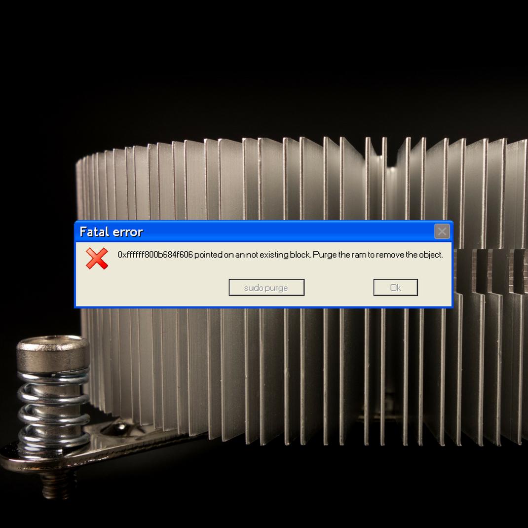 Eine BSOD Mitteilung, weil der RAM nicht geupdated werden konnte, kam es zu einem semantischem Fehler.