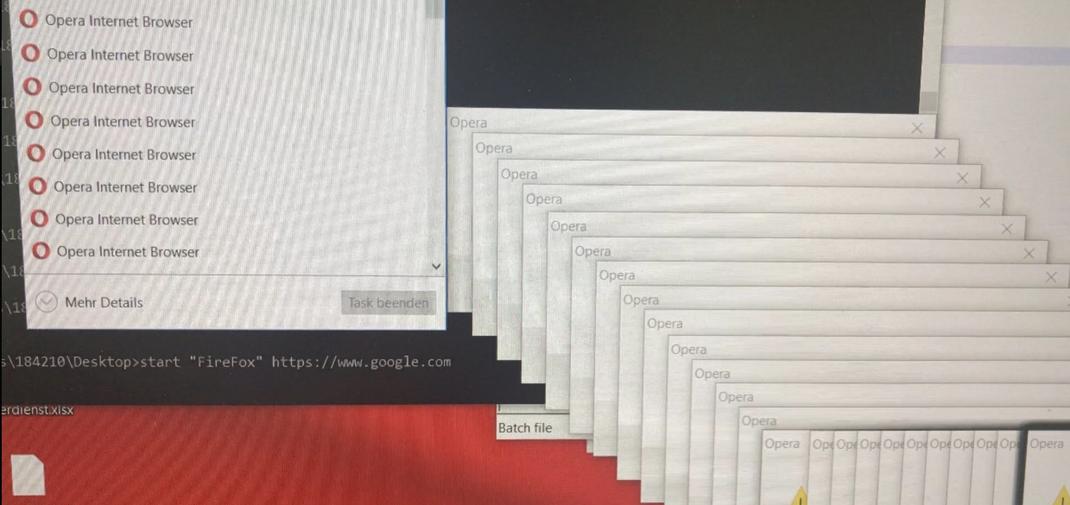 Batch file öffnet immer wieder Opera | Systemabsturz | Windows | memory cant get reserved | delay