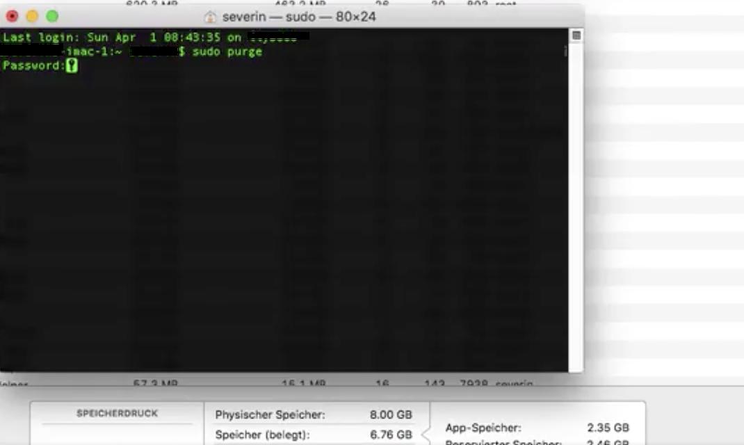"""Auswirkung von dem Terminal Befehl """"sudo purge"""", während eines Kopierprozesses, der viel Arbeitsspeicher benötigte."""