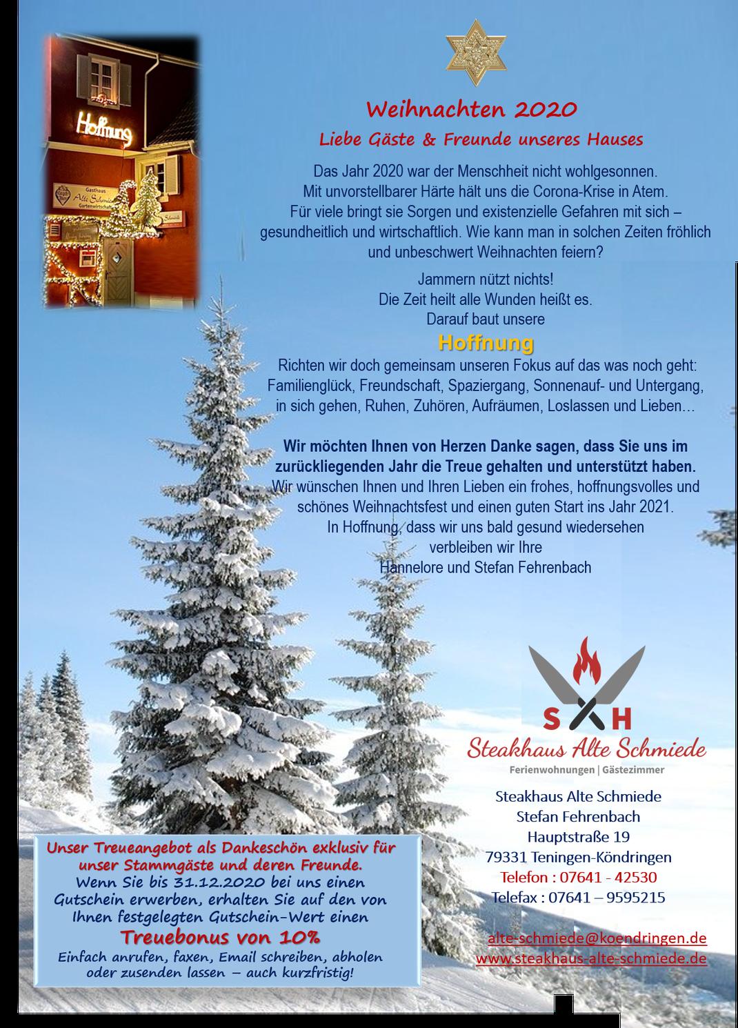 Weihnachtsgrüße von der Alten Schmiede, Steakhaus in Köndringen, Gutscheine, Angebot,  Weihnachten,