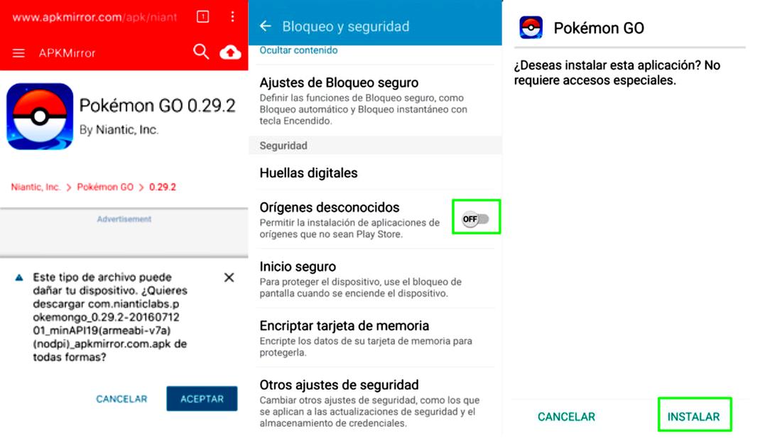 pasos para instalar pokemon go de forma segura y sin virus