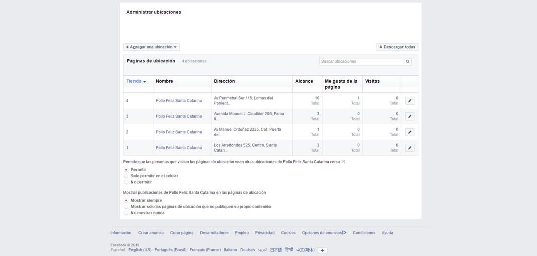 administrar tus ubicaciones o sucursales en facebook