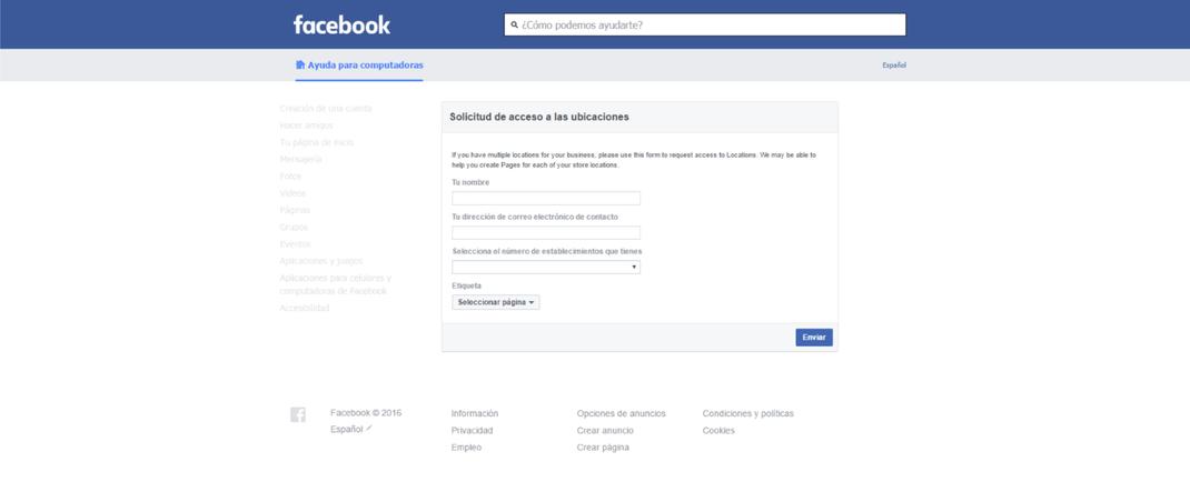 solicitud de acceso a las ubicaciones de paginas de facebook