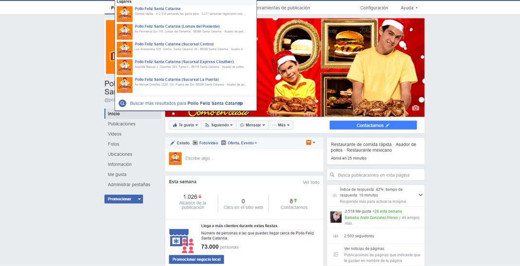 Vista previa de pagina de facebook con sucursales