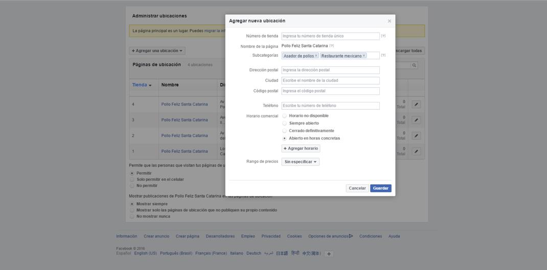 administrar ubicaciones fanpage facebook