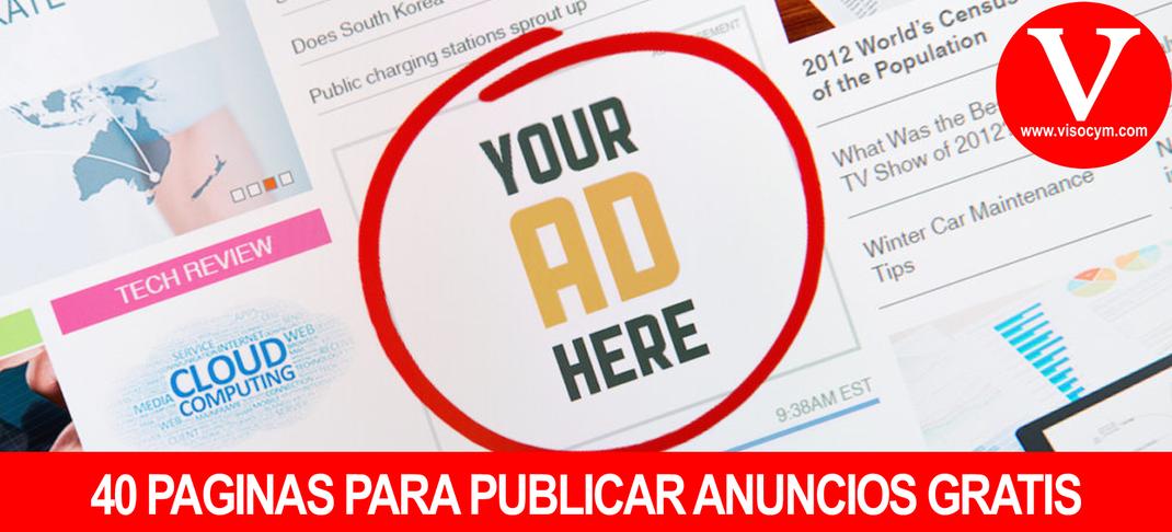 40 PAGINAS PARA PUBLICAR ANUNCIOS GRATIS EN MEXICO