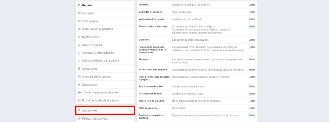 panel de configuración fanpage de facebook
