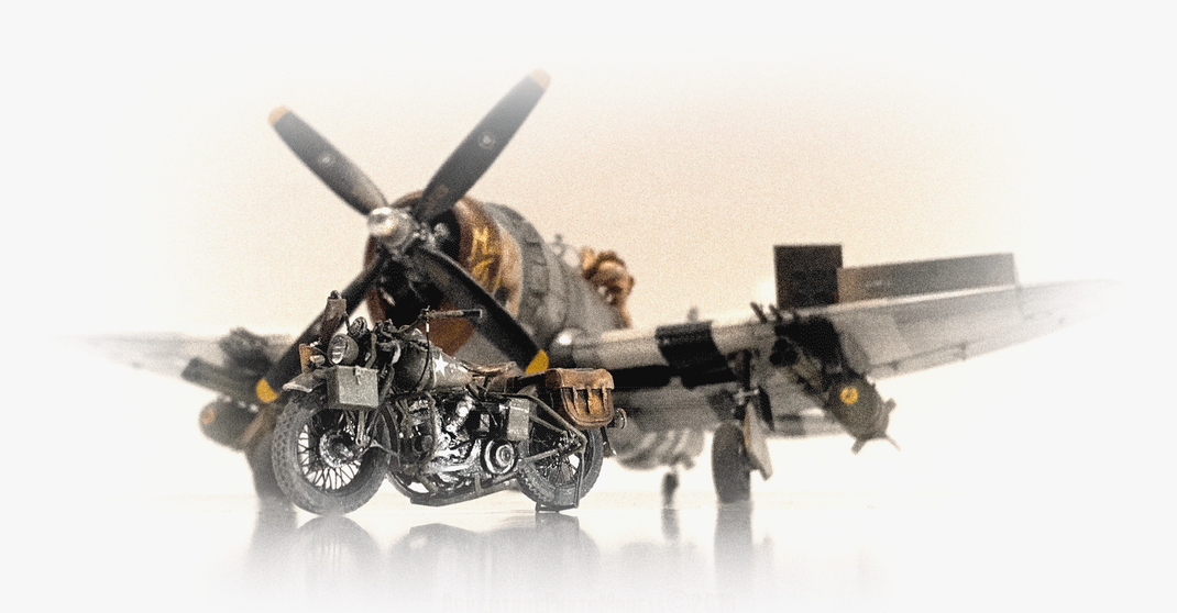"P 47 D ""Miss Fire"" & The Harley Davidson WLA  ("" Rest on motorcycle"") MiniArt kit 1:35 scale model"