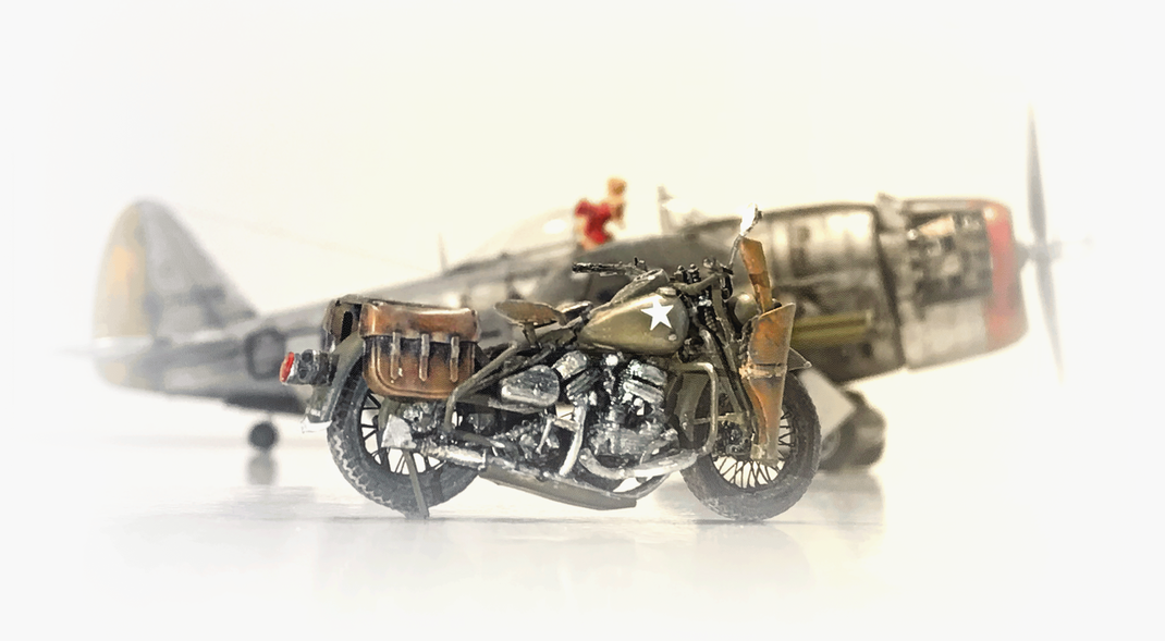 """P 47 D """"Miss Fire"""" Trumpeter kit 1:32 scale model (customized)  & The Harley Davidson WLA  ("""" Rest on motorcycle"""") MiniArt kit 1:35 scale model"""