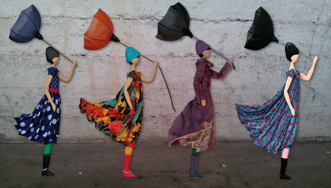 Skitso Design Figurenlampen Puppen mit Kleidern und Lampenschirm als Deckenleuchter Lampen Figuren Unikat in Handarbeit