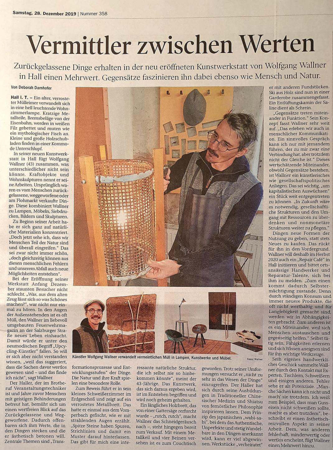 Wolfgang Wallner Kunstwerkstatt Hall in Tirol - Pressebericht zur Eröffnung vom 28.12.19, Autor: Deborah Darnhofer, Tiroler Tageszeitung