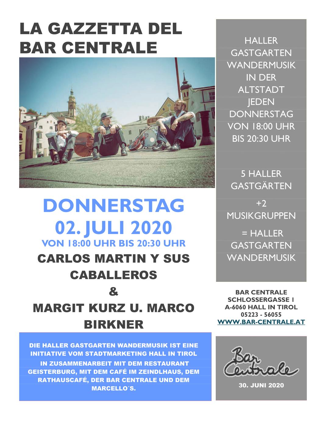 Haller Gastgarten Wandermusik in der Altstadt jeden Donnerstag von 18:00 Uhr bis 20:30 Uhr