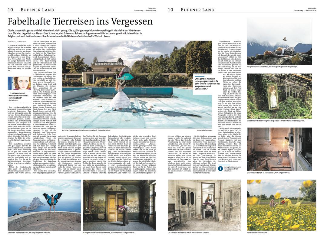 """""""Fabelhafte Tierreisen ins Vergessen"""", Grenzecho, 11.Februar 2016, Belgium"""