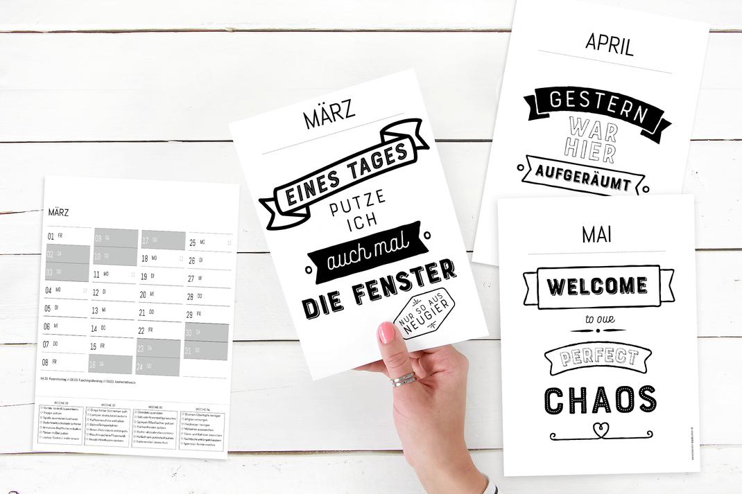 Kalender 2019 Typografie zum Ausdrucken. 12 wunderschöne typografische Kalenderblätter in schwarzweissen Look. www.kalender-ausdrucken.de