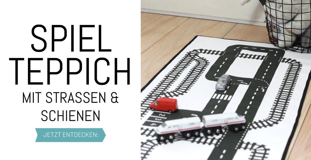 Spielteppich für das Kinderzimmer: Teppich selber nähen mit Strassen und Schienen Motiv! Nur noch Schrägband rum und fertig, tolle Idee! www.die-kleine-designerei.com