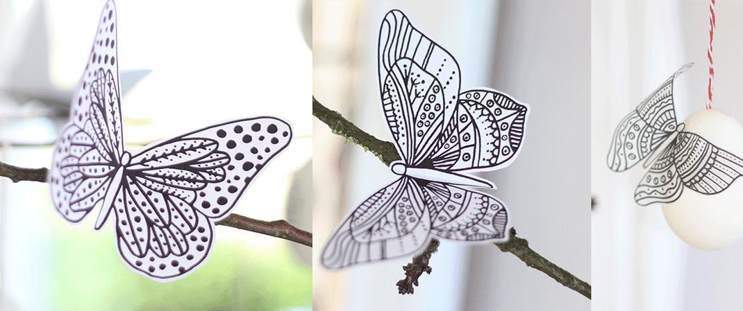Freebie Schmetterlinge als Oster Dekoration, nach Anmeldung einfach downloaden unter www.die-kleine-designerei.com