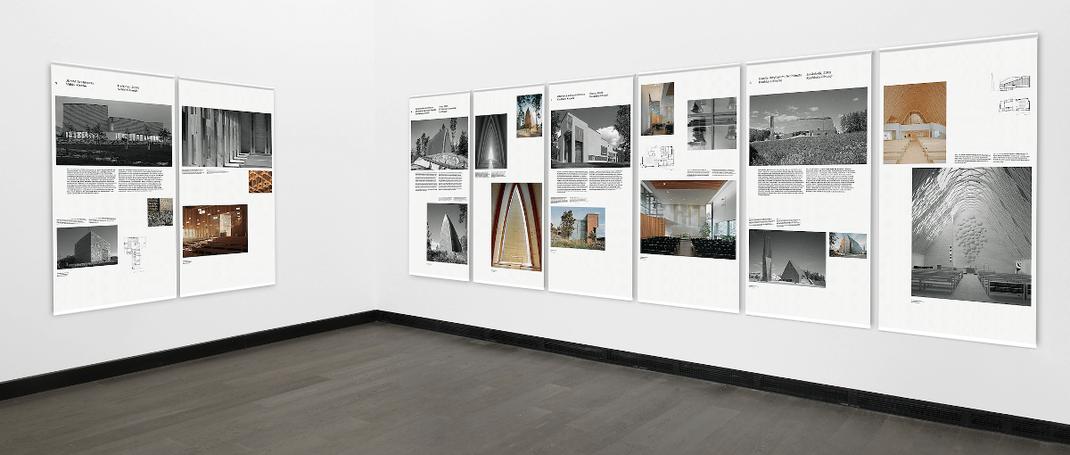 Auf 35 bedruckten Stoff-Fahnen sind großformatige Fotos und erläuternde Texte zu sehen.