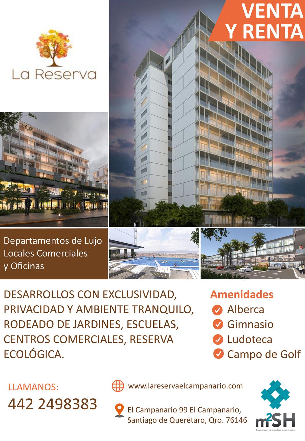 VENTA Y RENTA DE DEPARTAMENTO DE LUJO, OFICINAS Y LOCALES COMERCIAL EN QUERETARO