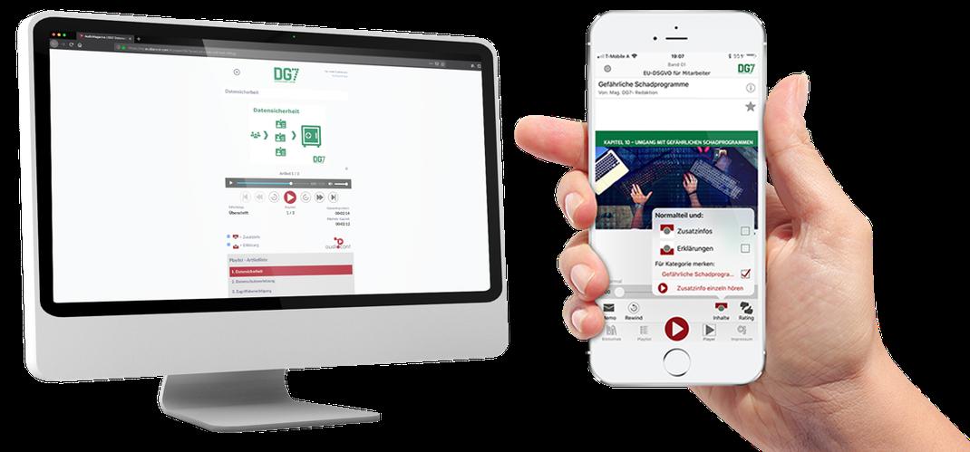 Die DG7App ist sowohl als Desktopversion als auch als mobile Handy-App verfügbar.