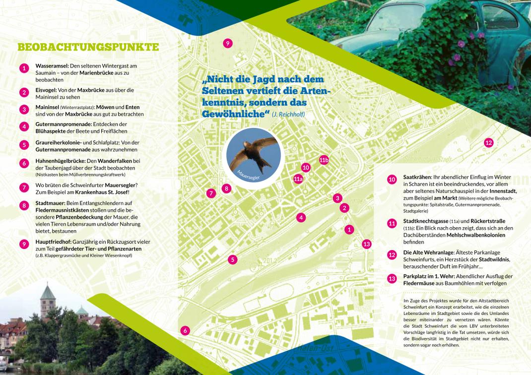 """Stadtplan """"Stadtwildnis Schweinfurt""""- ein gefördertes Projekt der Glücksspirale und des Bayerischen Naturschutzfonds"""